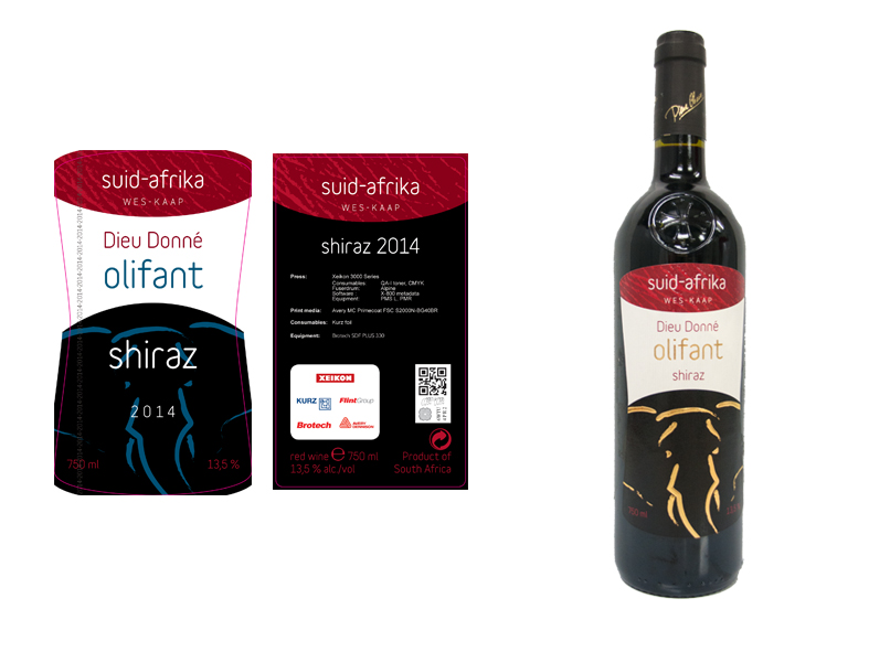 Sample of a digital printed wine label