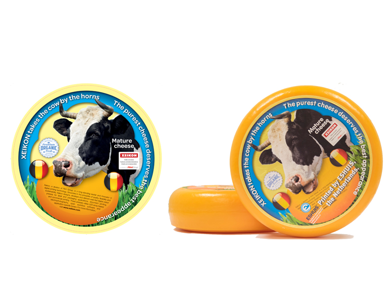 Sample of a digital printed cheese label